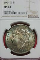 TONED 1904 O MINT STATE 63 MORGAN SILVER DOLLAR NGC GRADED CERTIFIED AUTHENTIC OCE 1142