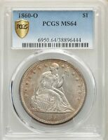 1860-O US SEATED LIBERTY SILVER DOLLAR $1 - PCGS MINT STATE 64
