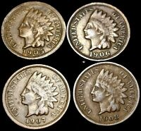1905-1908 INDIAN CENT - 4 COIN LOT