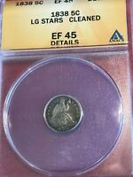 ANACS EF45 DETAILS CLEANED 1838 LG STARS LIBERTY SEATED SILVER HALF DIME-FEB716