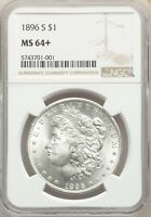 1896-S US MORGAN SILVER DOLLAR $1 - NGC MINT STATE 64