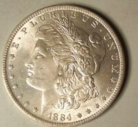 1884 O/O BU MORGAN DOLLAR VAM 29A DOUBLED EAR, FAR DATE, DIE CHIP STAR