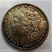 1889 P BU MORGAN DOLLAR VAM 30 LDS DOUBLE EAR OVERPOLISHED OBVERSE DIE TONED