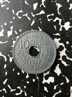 1942 TUNISIA 10 CENTIME  MANY AVAILABLE  HIGH GRADE  1 COIN ONLY