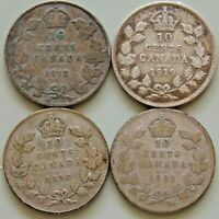 1912 1919 1930 1931 CANADA CANADIAN SILVER 10 CENT COINS LOT