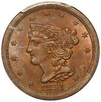 1851 U.S. BRAIDED HAIR 1/2 HALF CENT COIN - PCGS MINT STATE 64 BN CAC