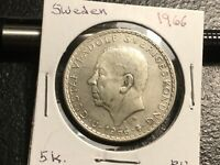 SWEDEN 1966 5  KRONE SILVER COIN  UNCIRCULATED