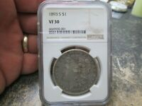 KEY DATE 1893 S US MORGAN SILVER DOLLAR NGC VF30  FINE CIRCULATED CONDITION