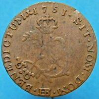 1751 BB FRENCH COLONIES DOUBLE SOL  2 SOUS CANADA US COLONIA