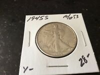1945 S WALKING LADY LIBERTY HALF DOLLAR.