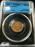 1888 OBV.3  NEWFOUNDLAND $2 GOLD CCCS GRADED   MS 64