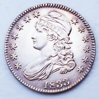 1833 AU  CAPPED BUST HALF DOLLAR GREAT COIN SUPER   WOW  SK2