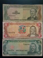 LOTE 3 BILLETES REPUBLICA DOMINICANA