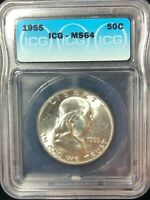 1955 FRANKLIN 50 CENT SILVER HALF DOLLAR MINT STATE 64 BRIGHT WHITE ICG CERTIFIED