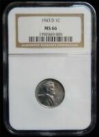 1943 D LINCOLN STEEL CENT NGC GEM MINT STATE 66 MJ 40