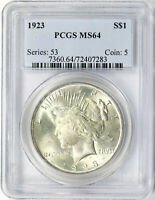 1923 $1 PEACE DOLLAR PCGS MINT STATE 64