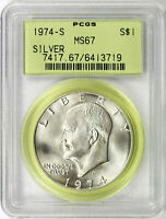 1974-S SILVER IKE $1 EISENHOWER DOLLAR PCGS MINT STATE 67 OGH