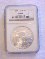 2006 AMERICAN SILVER EAGLE DOLLAR COIN SILVER $1.00 NGC MINT STATE 69 GRADED