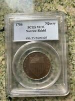 1786 NEW JERSEY NARROW SHIELD PCGS VF35   COLONIAL COIN