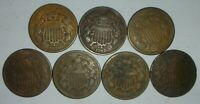 8 TWO CENT PIECES 1864 1865 1866 1867 1868 1869 1871