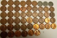 COMPLETE SET OF WHEAT PENNIES LINCOLN CENTS 1941 TO 1958 - 51 TOTAL SEVERAL UNC