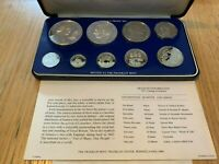 1977 SILVER JAMAICA COINAGE 9 COIN PROOF SET ORIGINAL PACKAGING  FRANKLIN MINT