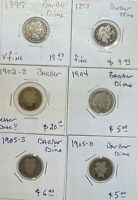 LOT OF 6 BARBER LIBERTY SILVER DIMES 1897 1898 1902 S 1904 1905 S 1905 O