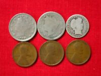 1907  LIBERTY  2  NICKEL & DIME 1909,1910,1917 PENNY, CENTS