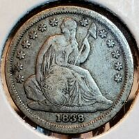 1838 SEATED LIBERTY DIME CHOICE FINE   LARGE STARS VARIETY