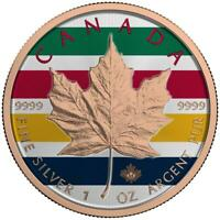 CANADA 2017   5$   MAPLE LEAF   COLOR STRIPS   1 OZ SILBERMN