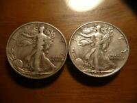 1942-D & 1943-P  WALKING LIBERTY HALF DOLLARS FINE-EXTRA FINE  CONDITION SKU18994