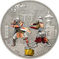 COOK ISLANDS 2015 5$ HISTORY OF THE SAMURAI 1 OZ ANTIK SILBE