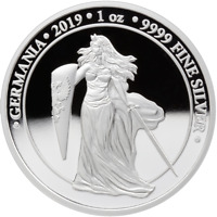 GERMANIA 2019 5 MARK   GERMANIA PROOF 1 OZ SILBERMNZE