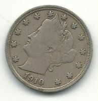 FINE CONDITION 1910 LIBERTY HEAD V NICKEL COIN-OLD US COIN-APR335
