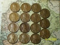 1914 TO 1930 @  {-15-}  LINCOLN WHEAT CENT,S {FROM OLD ROLLS}