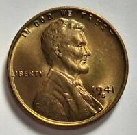 1941 S LINCOLN WHEAT CENT. BRILLIANT UNCIRCULATED.  1941 S LINCOLN PENNY. BU