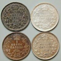 1912 1917 1918 1920 CANADA CANADIAN 5 CENT SILVER COINS   LO
