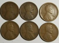 LINCOLN WHEAT PENNIES LOT OF 1917-S,1918-D,1924-S,1925-S & 1927-S COPPER CENTS.