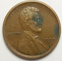 1920 S LINCOLN WHEAT CENT ERROR. DOUBLING ON OBVERSE 1920 S DATE IS DOUBLED.
