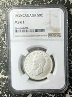1939 CANADA 50 CENTS NGC MS61 LOTRM24 SILVER  NICE UNC EXAMP