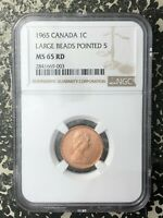 1965 CANADA 1 CENT LARGE BEADS POINTED 5 NGC MS65 RED LOTRM3