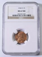 1944-S LINCOLN CENT - NGC MINT STATE 67 RED