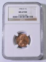 1945-D LINCOLN WHEAT CENT - NGC MINT STATE 67 RED