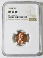 1955 LINCOLN CENT - NGC MINT STATE 66 RED