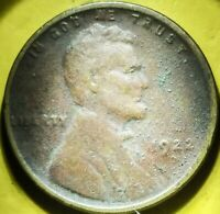 1922 NO D LINCOLN CENT WHEAT PENNY STRONG REVERSE COVETED KE