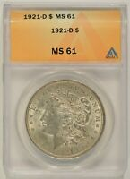 1921-D MORGAN SILVER DOLLAR $1 ANACS MINT STATE 61 6140701