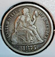 1875 SEATED LIBERTY DIME CHOICE EF  EXTRA FINE PLEASING