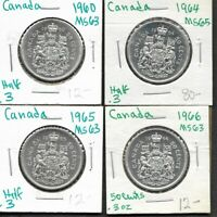 1960 1964 1965 1966 CANADA CANADIAN SILVER 50 CENT COINS LOT