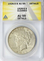 1926-S $1 PEACE DOLLAR ANACS AU55 DETAILS CLEANED