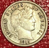VF/EXTRA FINE  1915 S BARBER SILVER DIME COIN-OLD US COIN-JUL001